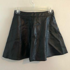 H&M Black Faux Leather Circle Skirt - Size 4